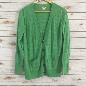 Mossimo XL Green Stripe Cardigan Sweater Size XL
